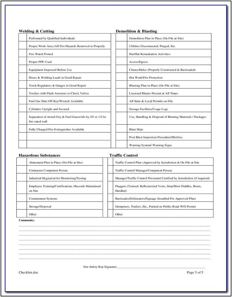Construction Safety Checklist Form