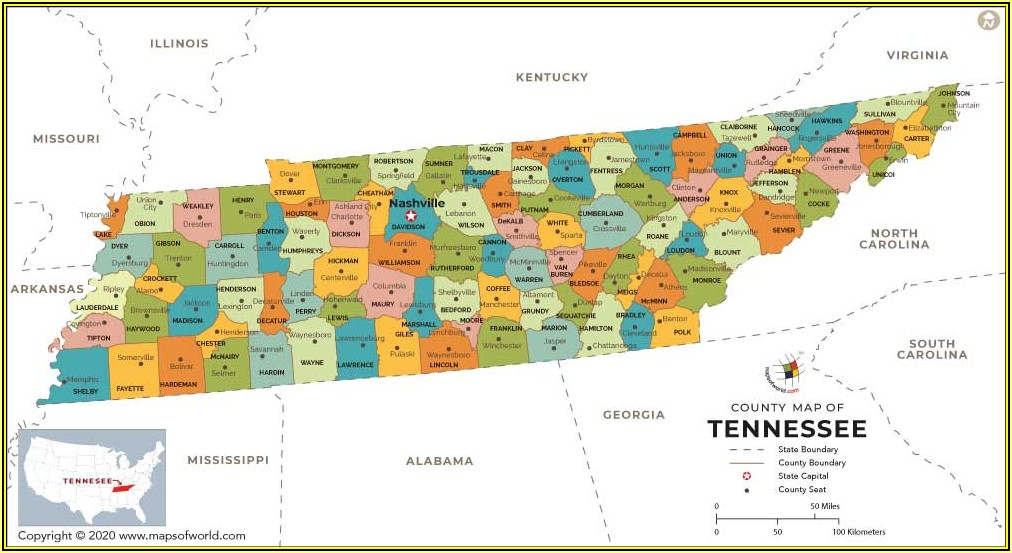 County Maps Of Tennessee With Cities