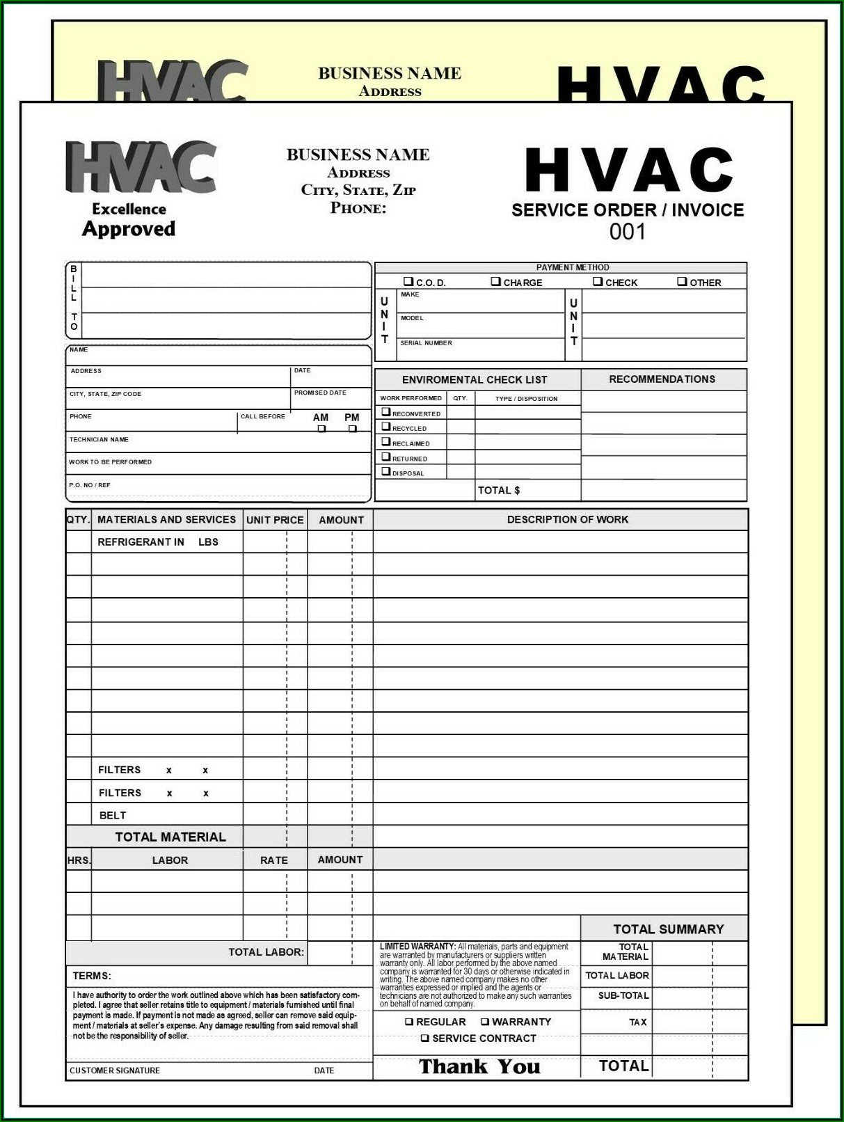 Custom Carbonless Work Order Forms