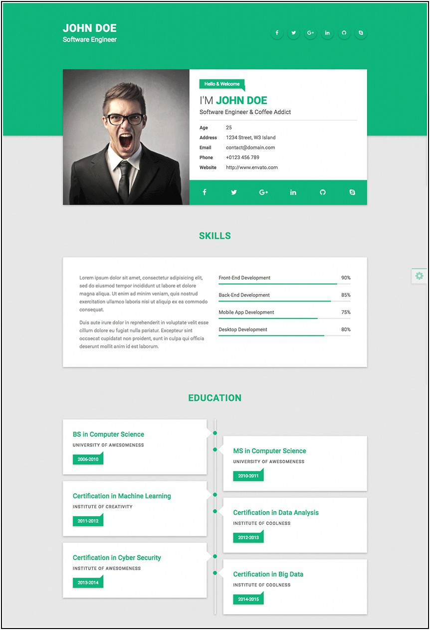 Cv Resume Website Template Free