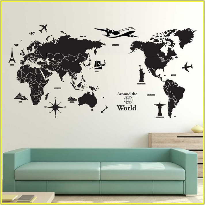 Decal Wall Art World Map