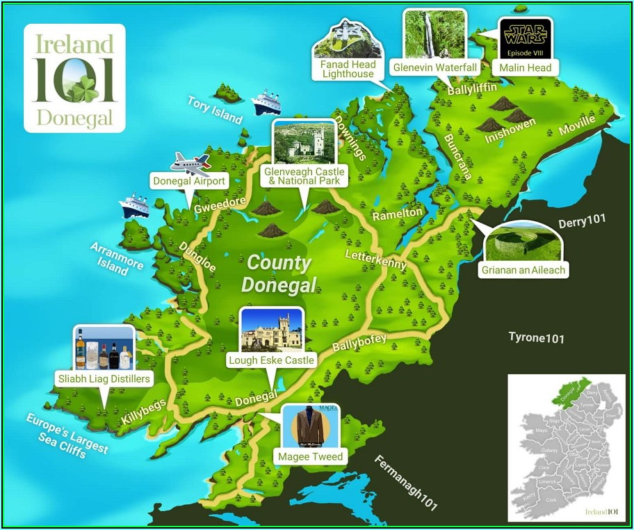 Detailed Map Of Donegal Ireland
