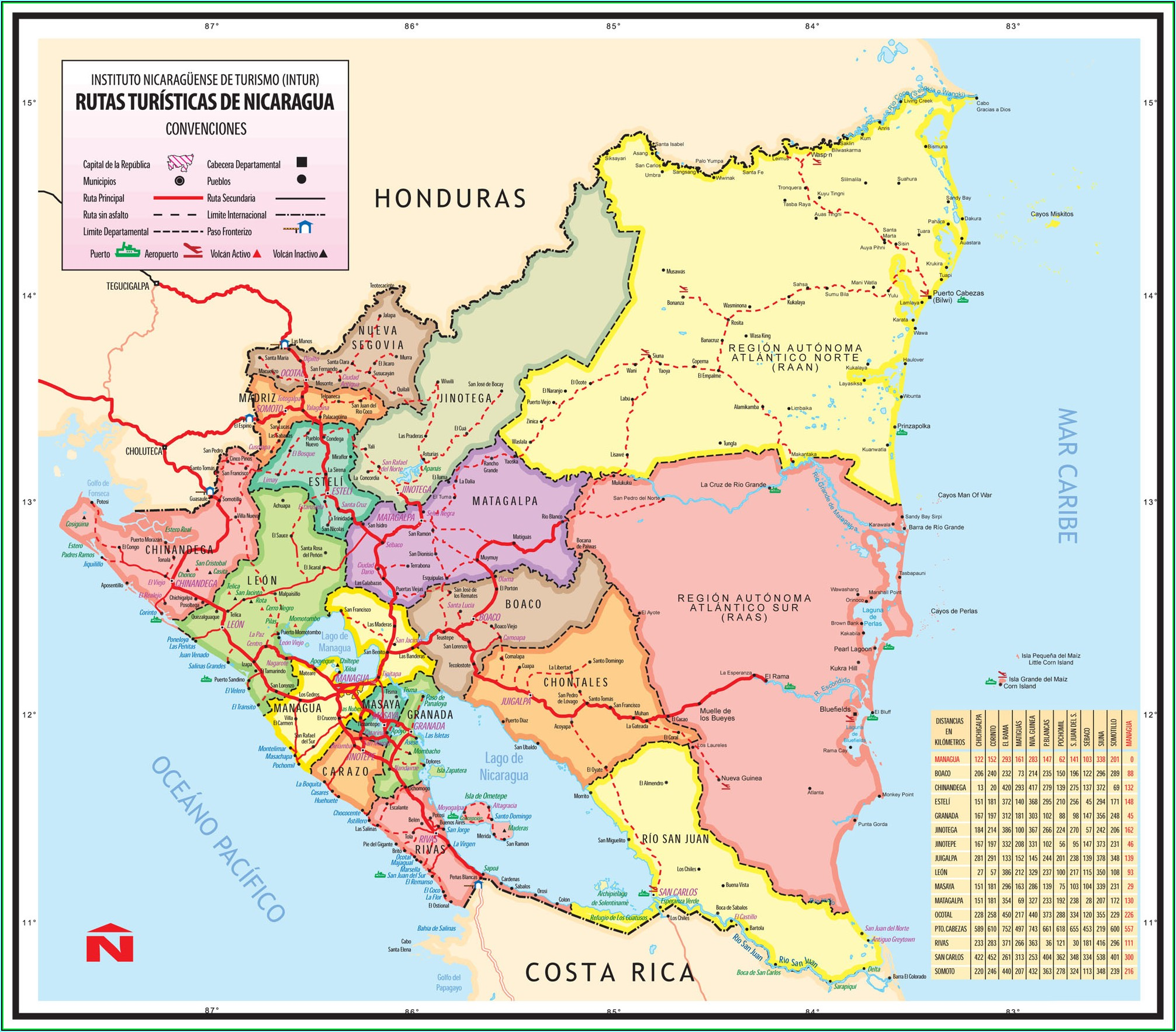Detailed Map Of Nicaragua