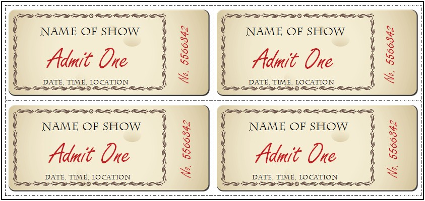 Editable Dinner Ticket Template Free
