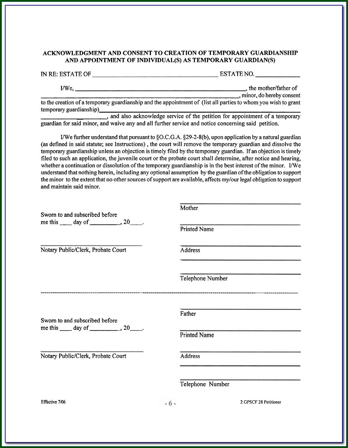 Educational Guardianship Form Illinois