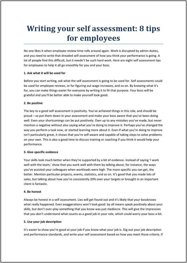 Employee Evaluation Sample Answers