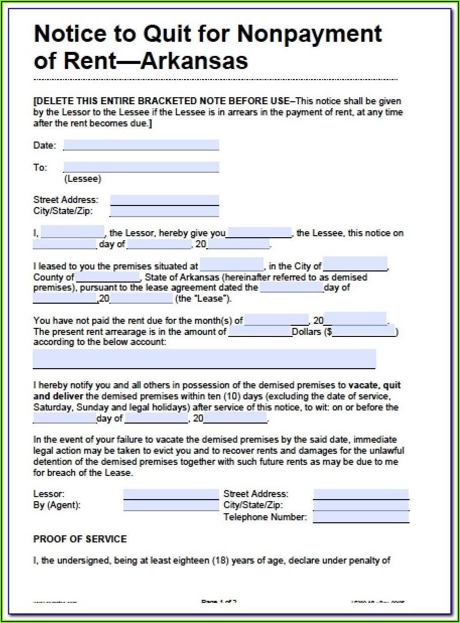 Eviction Notice Arkansas Template