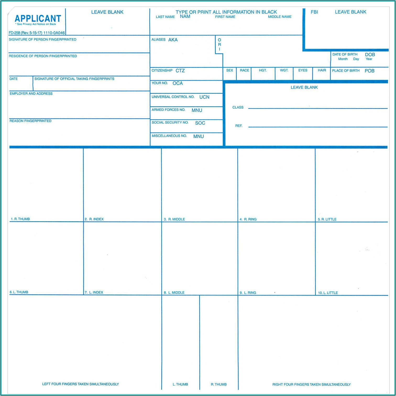 Fbi Applicant Fingerprint Card Form Fd 258