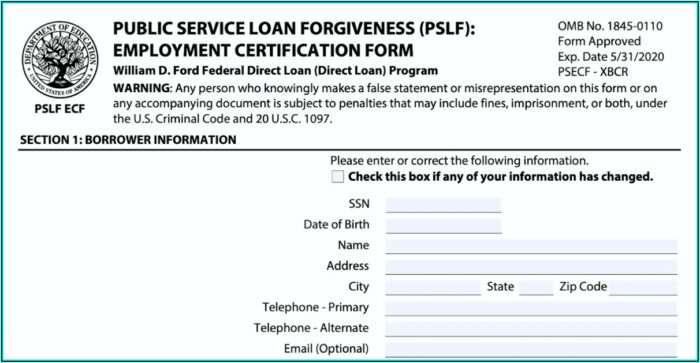 Federal Loan Forgiveness Forms