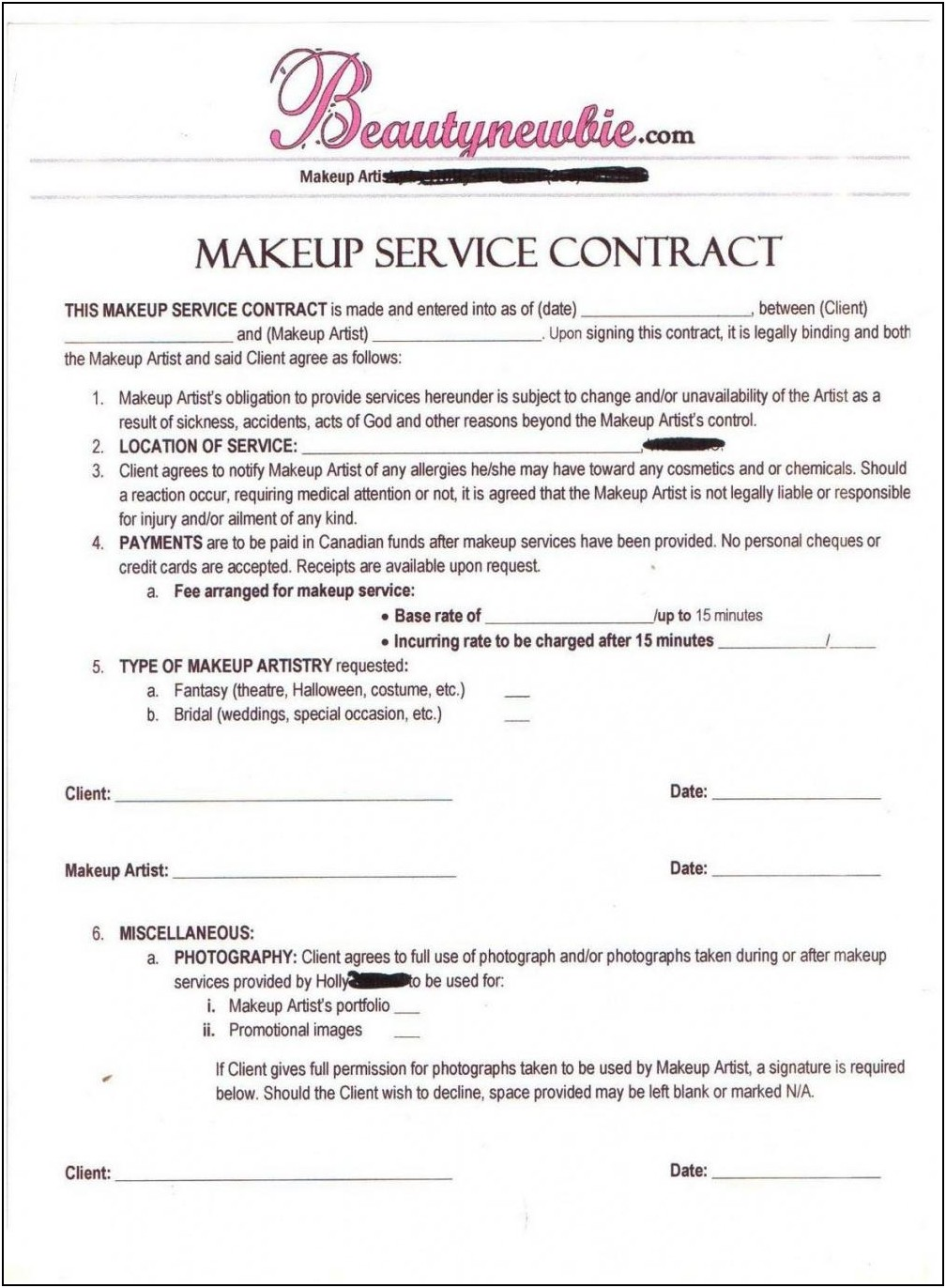 Free Bridal Makeup Contract Template
