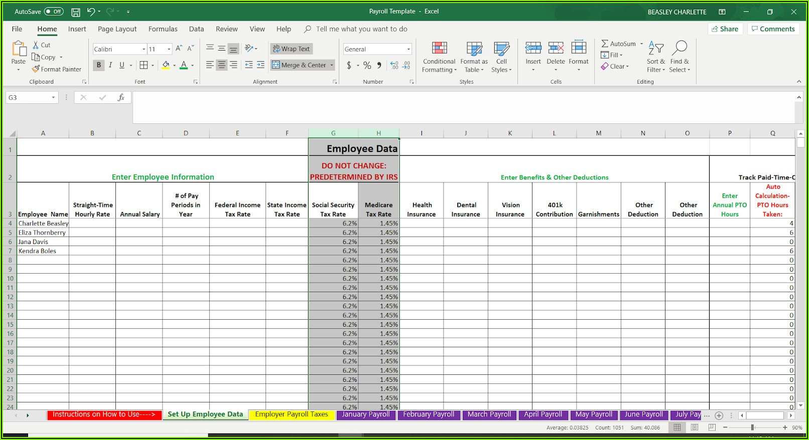 Free Canadian Payroll Excel Template