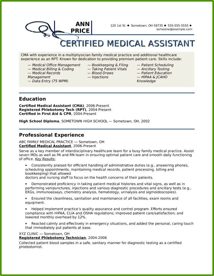 Free Certified Medical Assistant Resume Templates