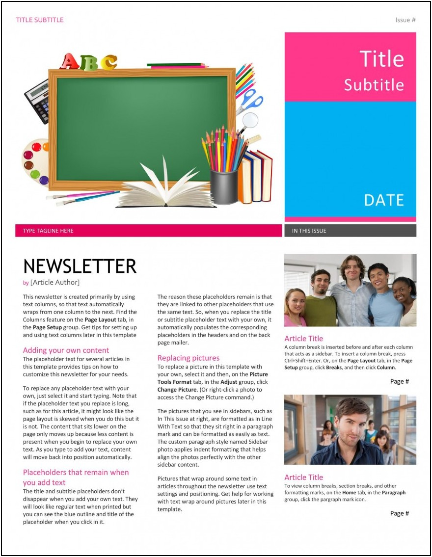 Free Email Newsletter Templates For Publisher