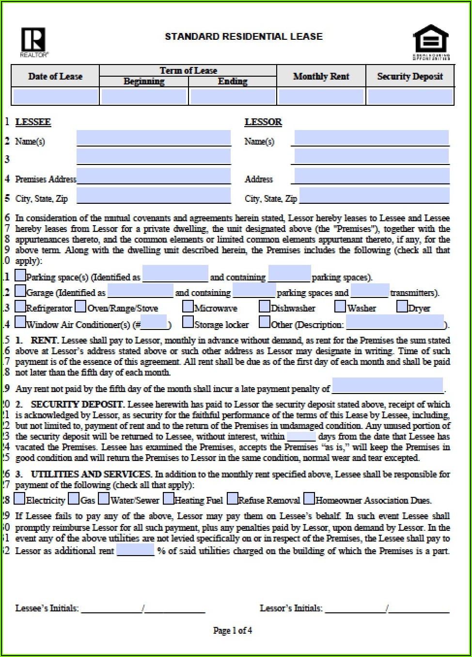 Free Illinois Residential Lease Agreement Template