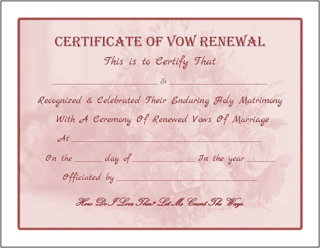 Free Marriage Renewal Certificate Template