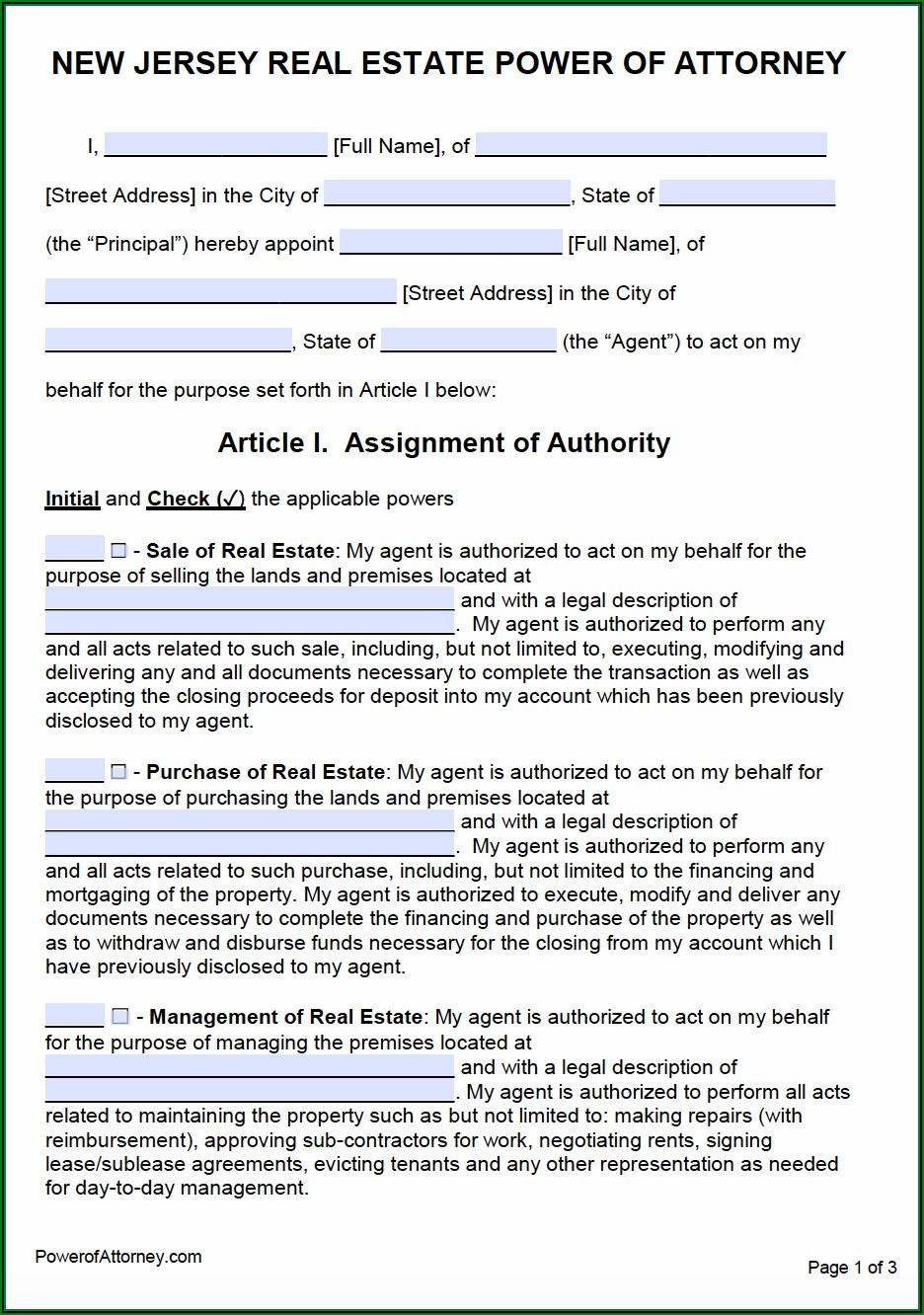 Free New Jersey Power Of Attorney Form