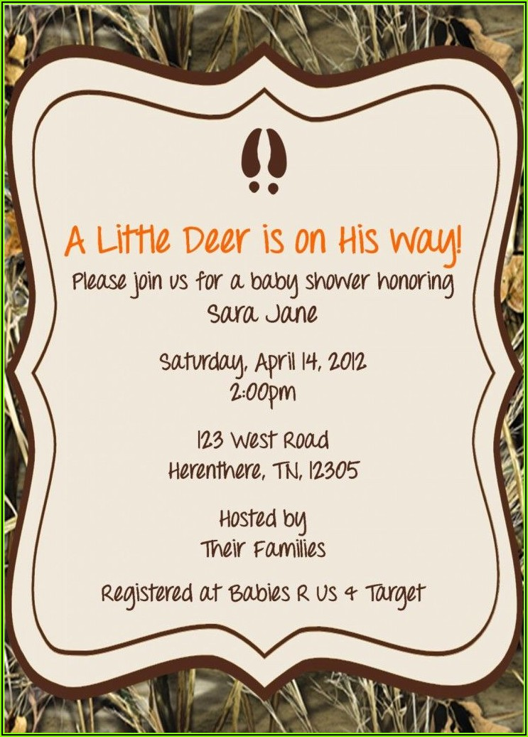 Free Printable Camo Baby Shower Invitations Templates