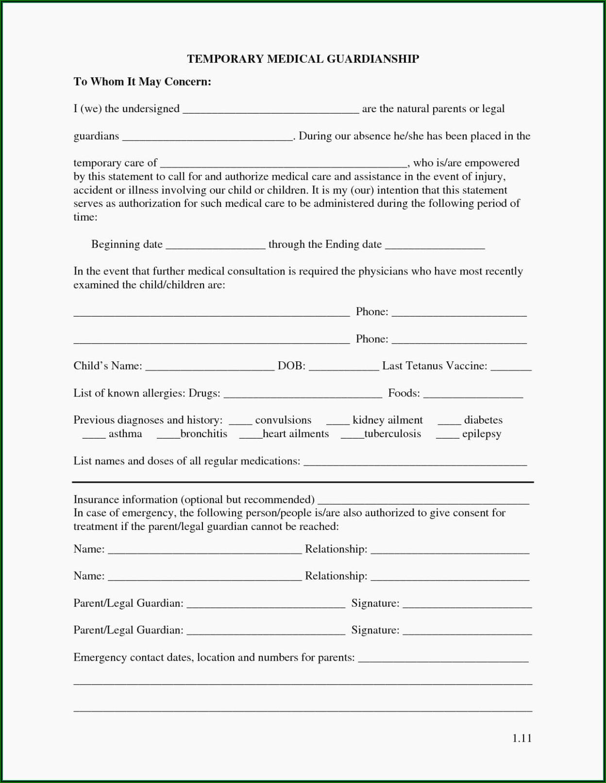 Free Printable Temporary Custody Forms