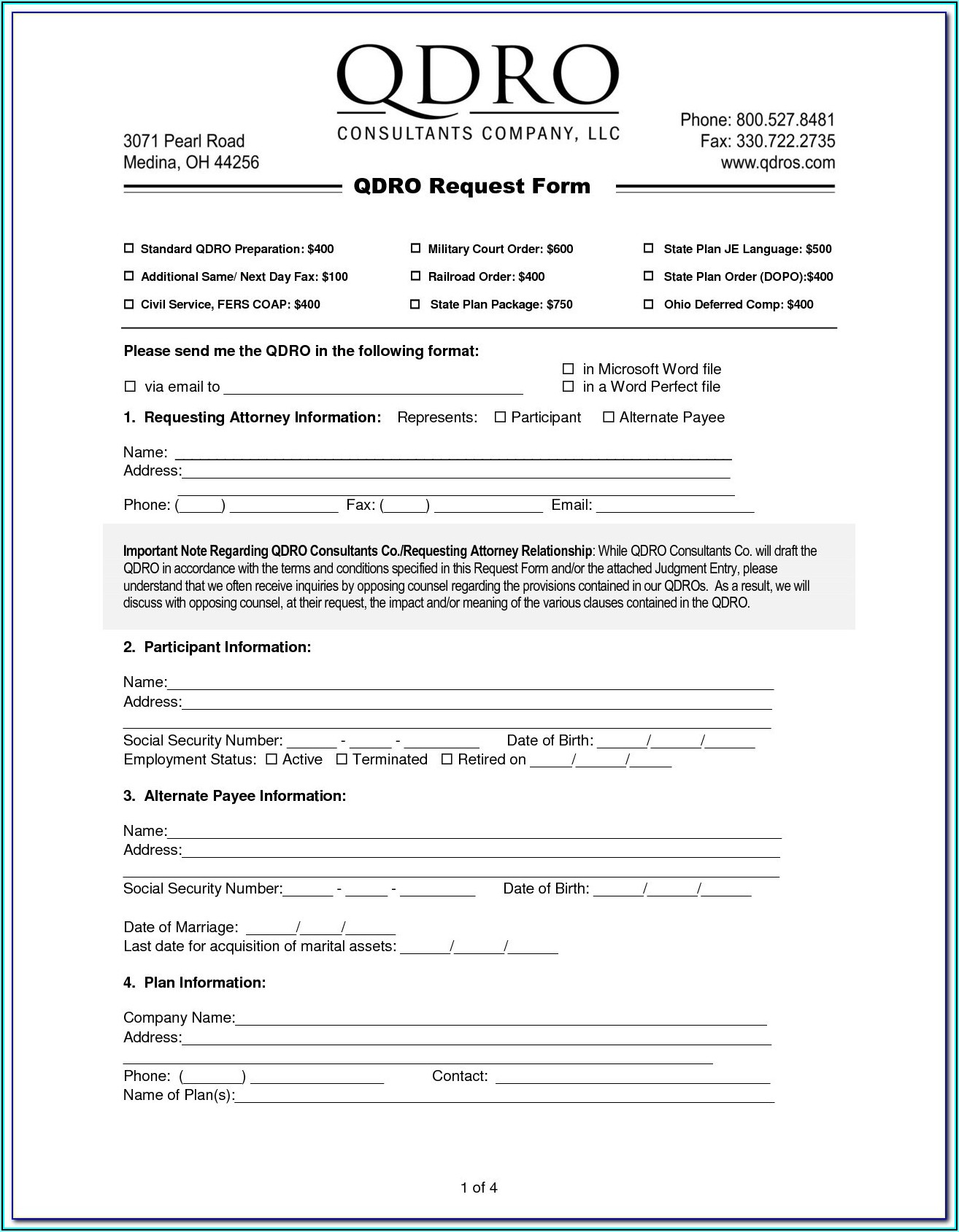 Free Qdro Form California