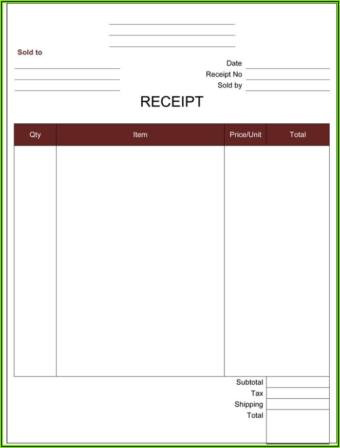 Free Receipt Template Pdf