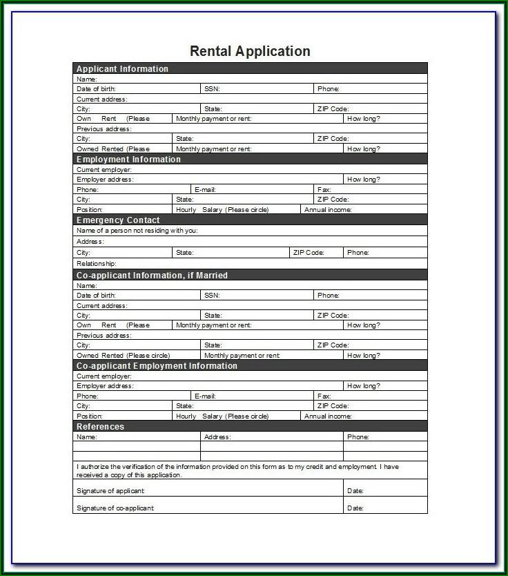 Free Residential Rental Application Form Pdf