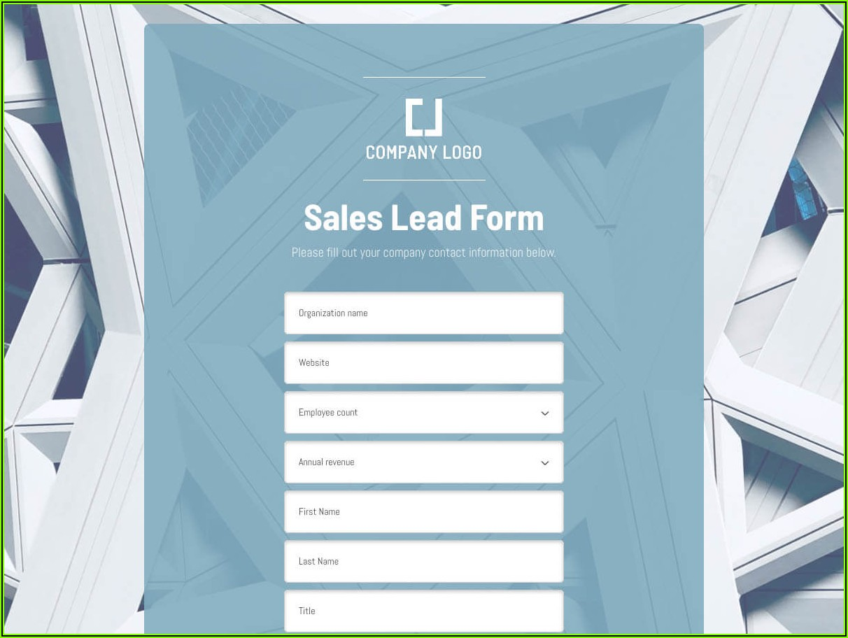 Free Sales Lead Form Template