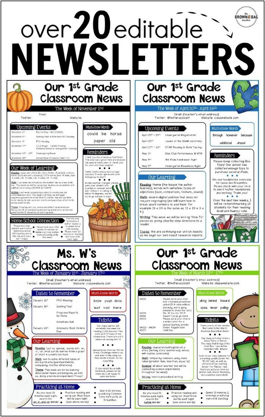 Free Teacher Newsletter Templates Microsoft Word