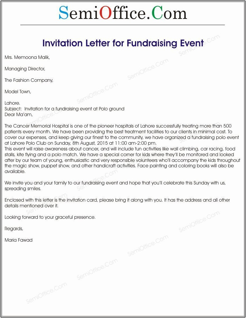 Fundraiser Invitation Email Template
