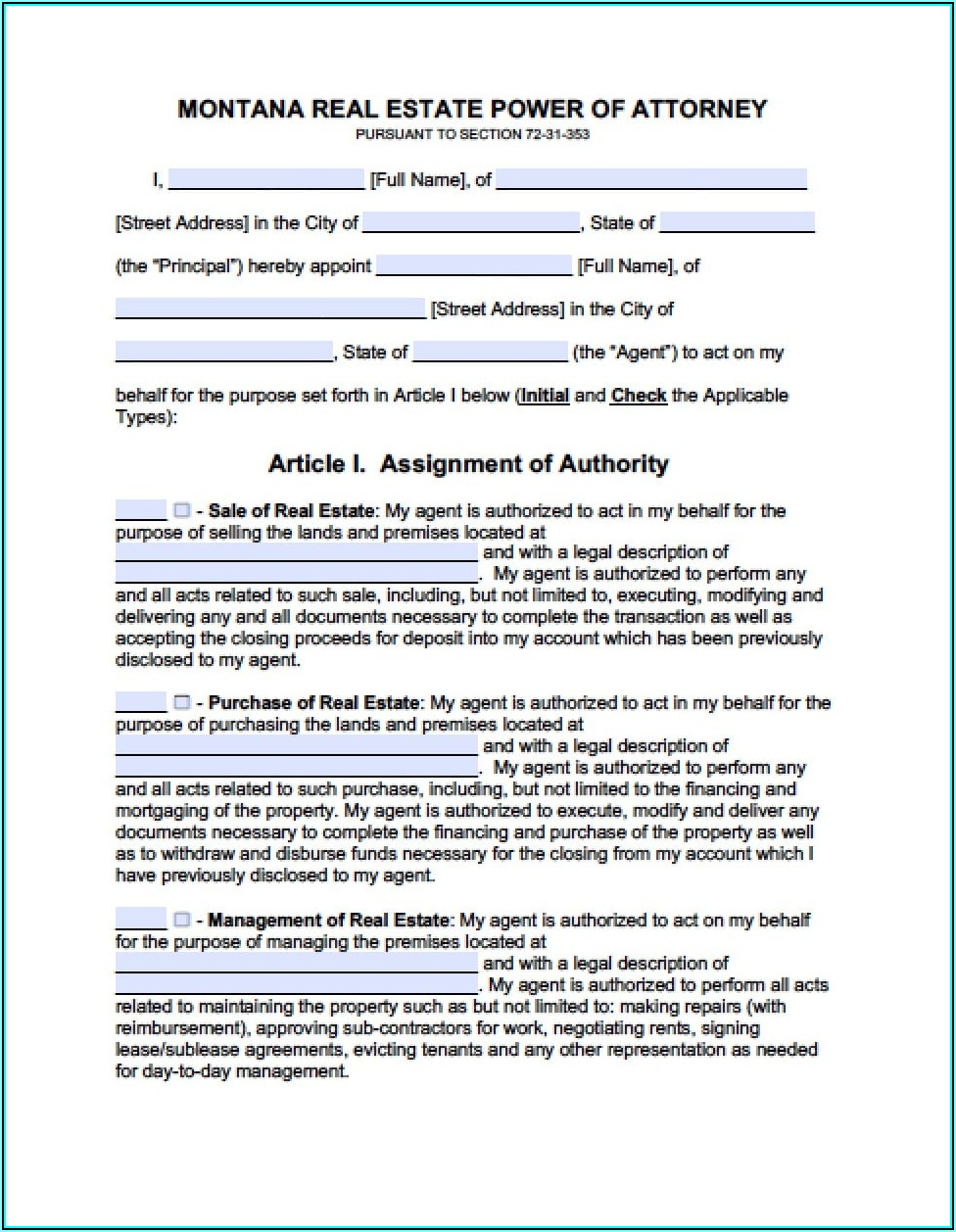 General Power Of Attorney Form Montana