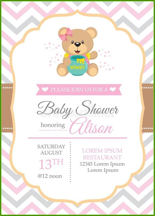 Girl Teddy Bear Baby Shower Invitation Templates