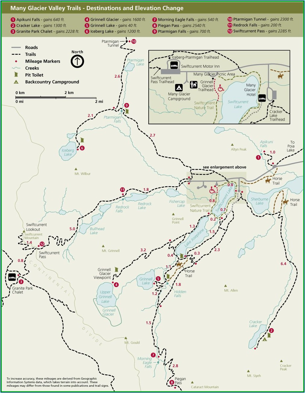 Glacier National Park Hiking Maps
