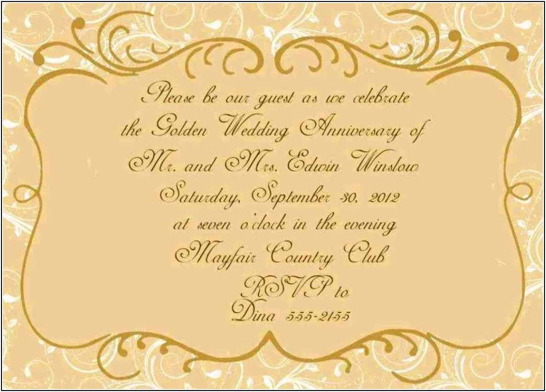 Golden Wedding Anniversary Certificate Template