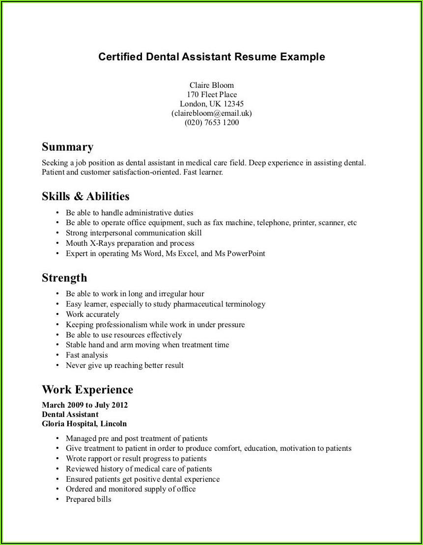 Good Resume For Dental Assistant