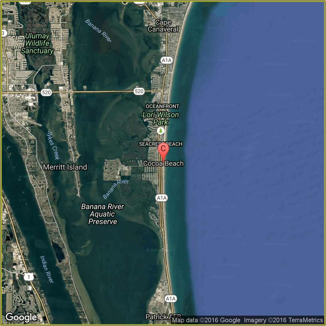 Google Maps Cocoa Beach Hotels
