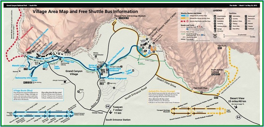Grand Canyon Lodging South Rim Map