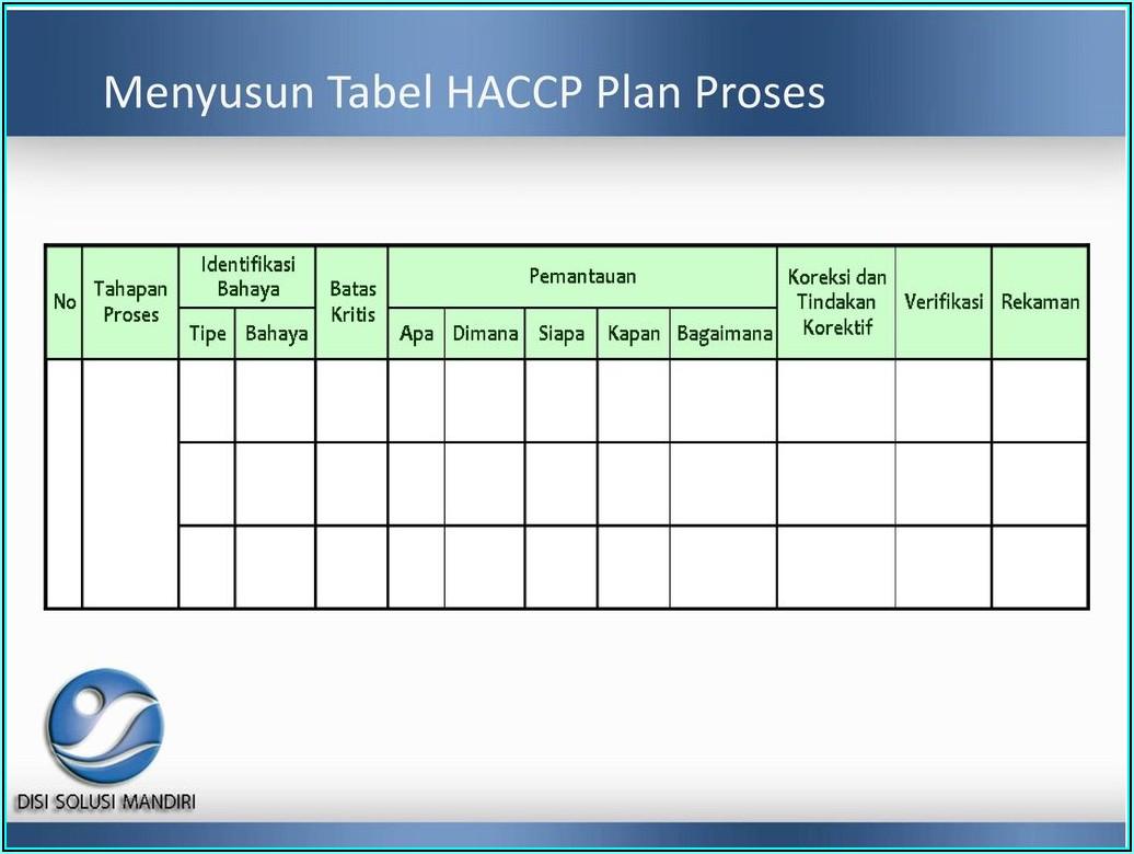 Haccp Plan Form 11