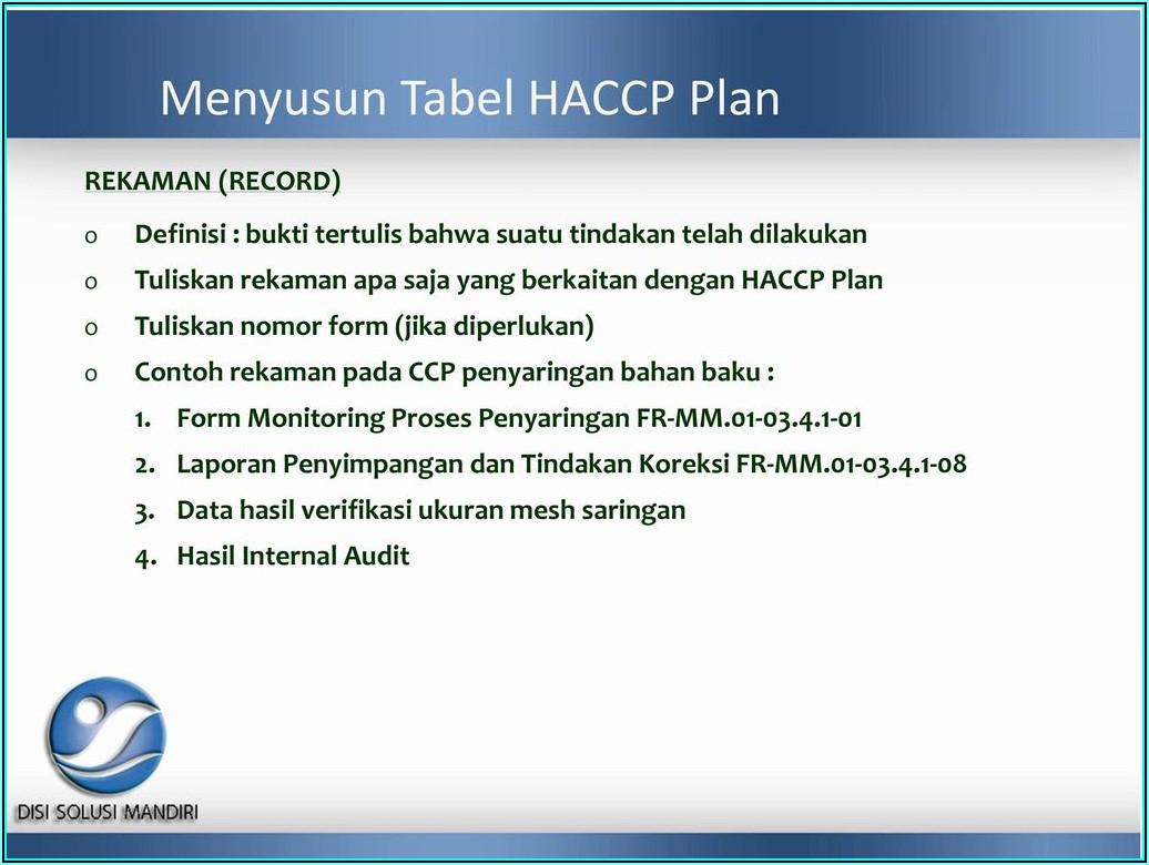 Haccp Plan Form 8