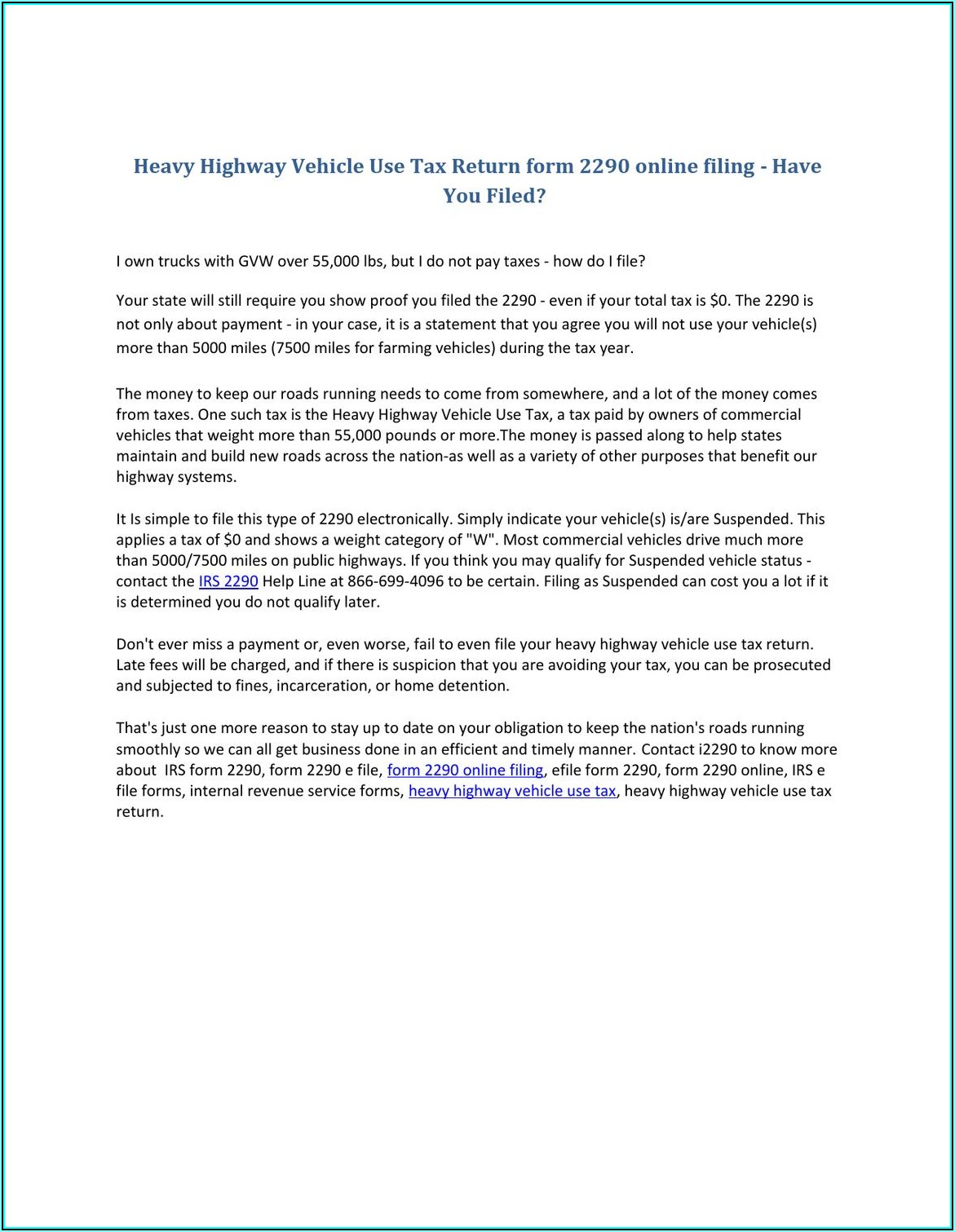 Highway Heavy Use Tax Form 2290