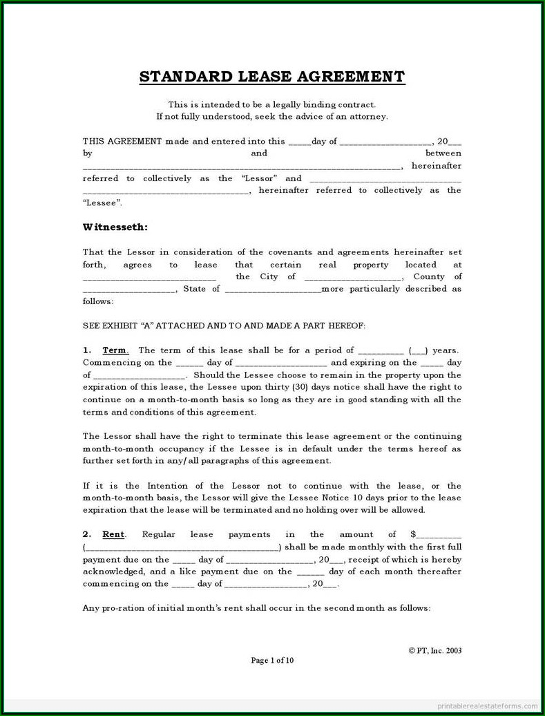 House Rental Agreement Forms Free Download