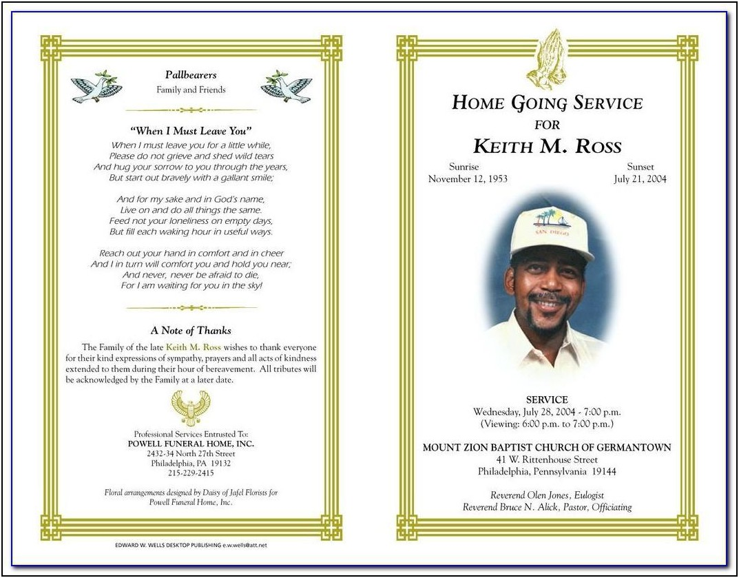 Humanist Funeral Service Template