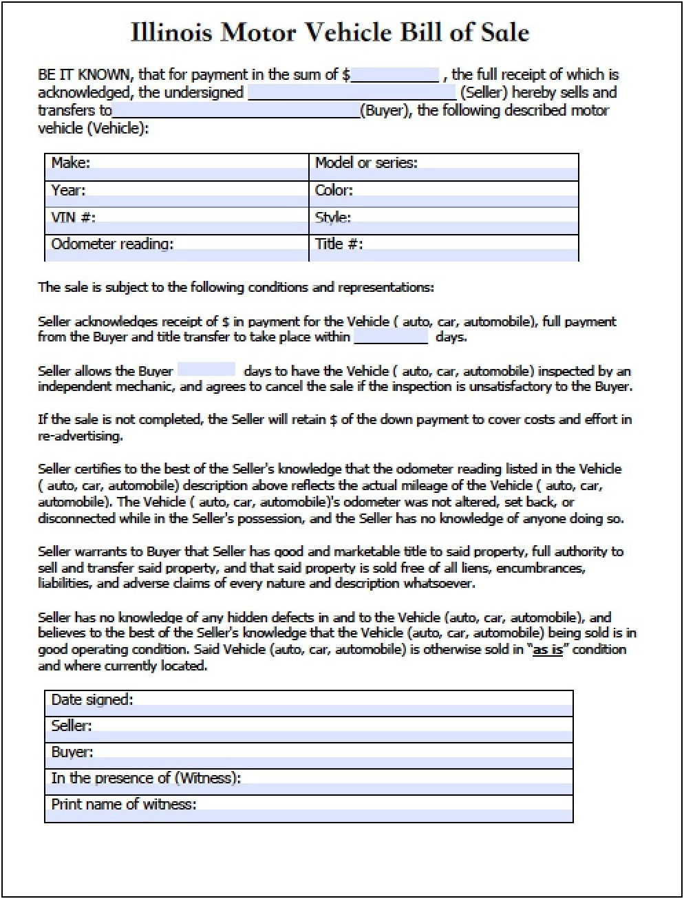 Illinois Vehicle Bill Of Sale Template Fillable Pdf