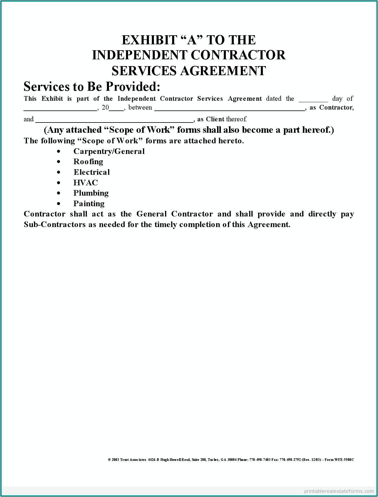 Independent Contractor Form Template