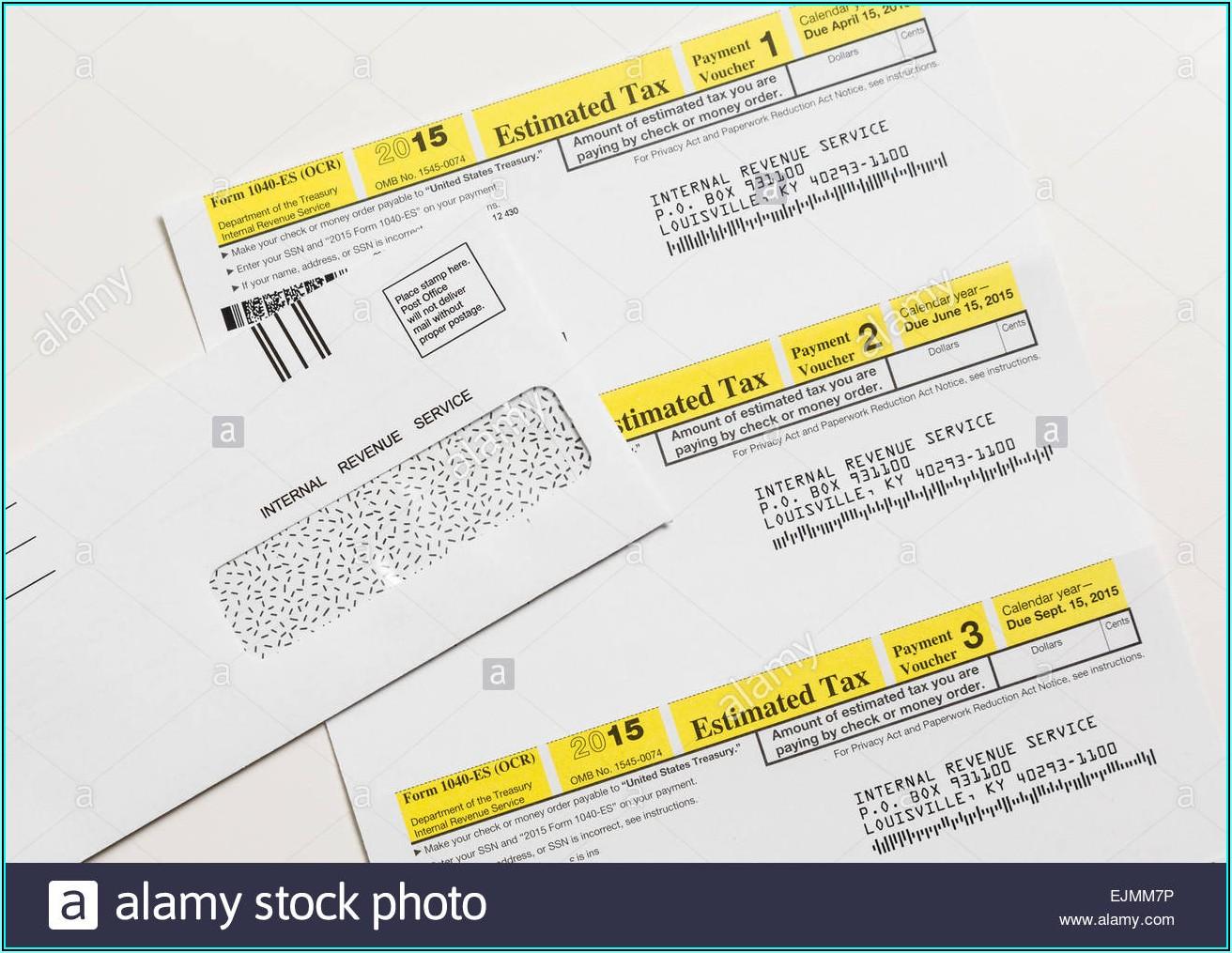 Internal Revenue Service Form 1040 Es Estimated Tax Individuals
