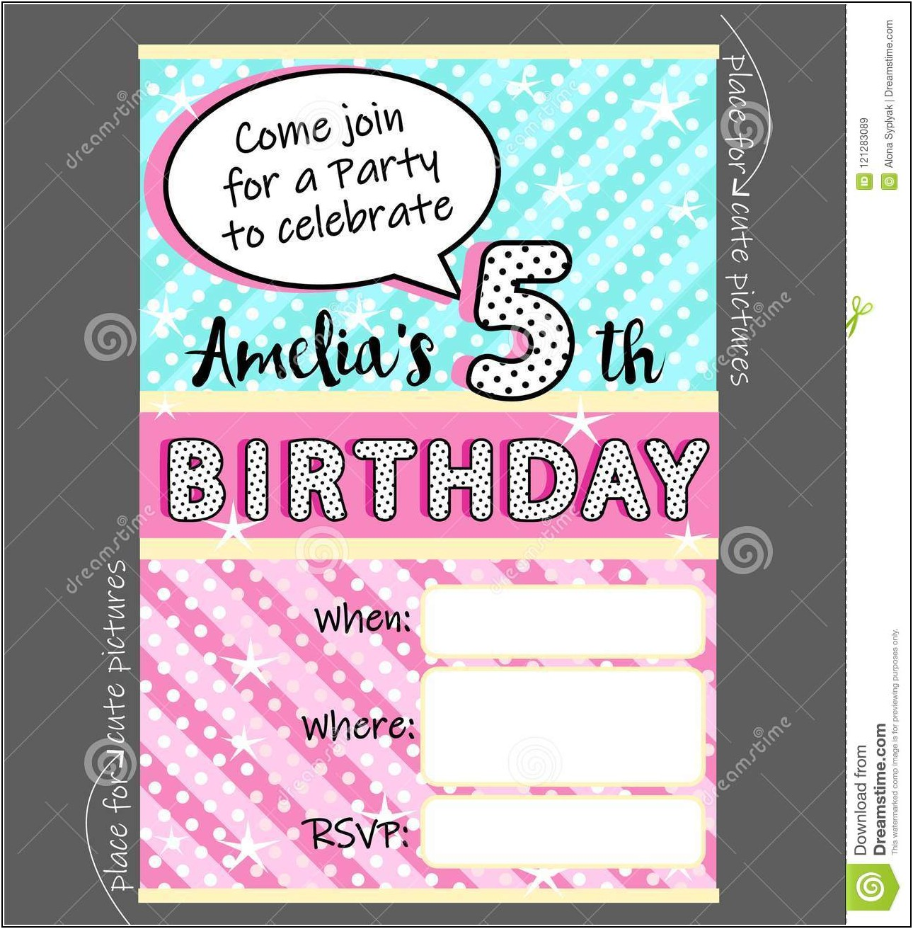 Invitation Card Template For Birthday Party