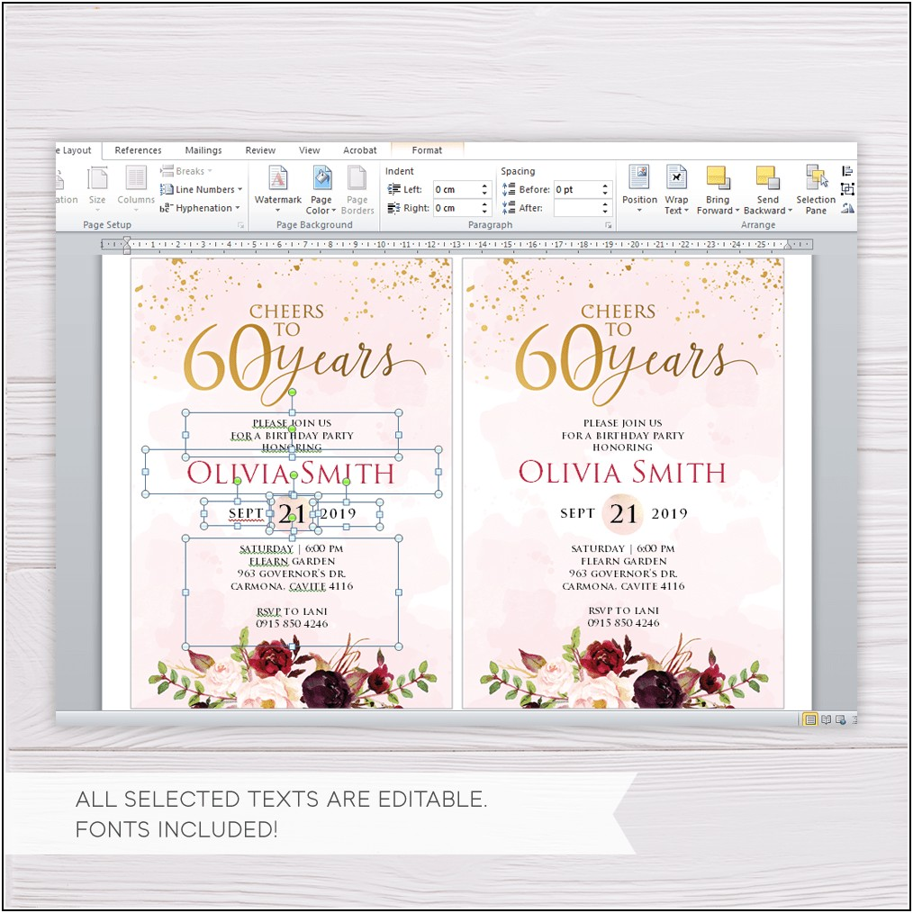 Invitation Template For 60th Birthday