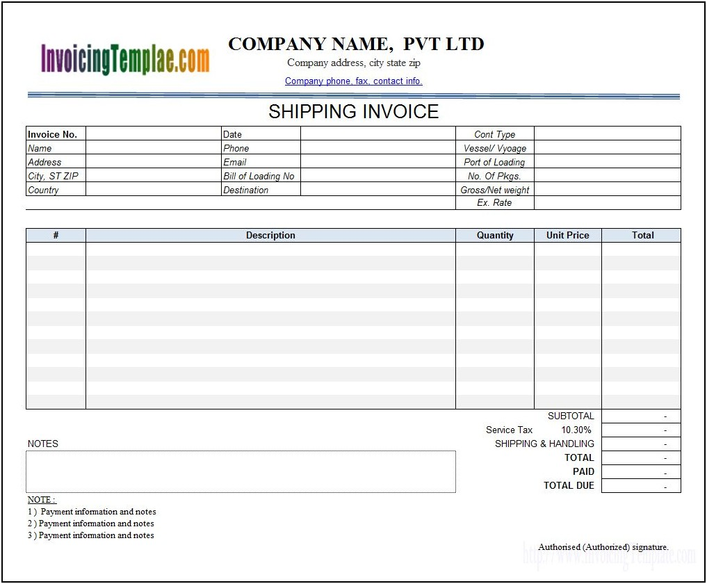 Invoice Template Credit Card Payment Option