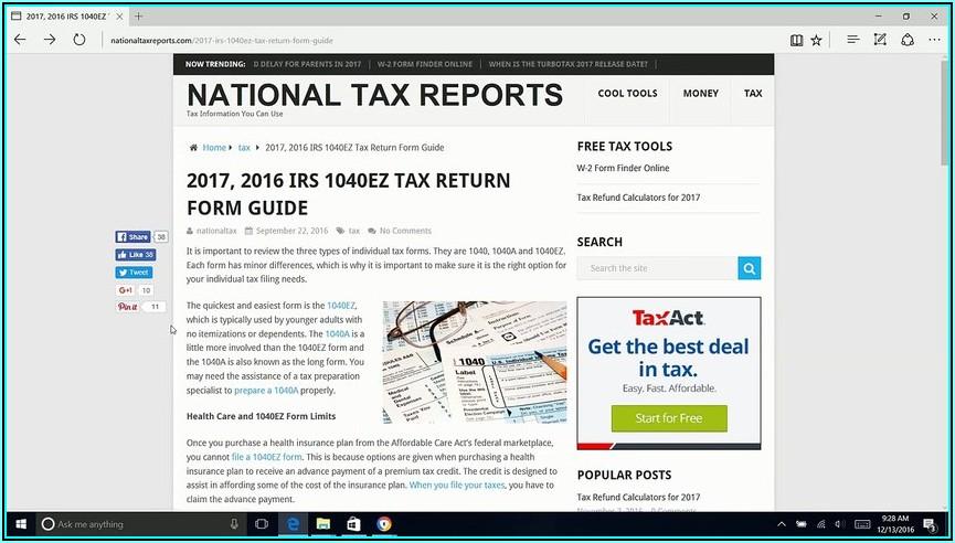 Irs Tax Form 1040ez 2017
