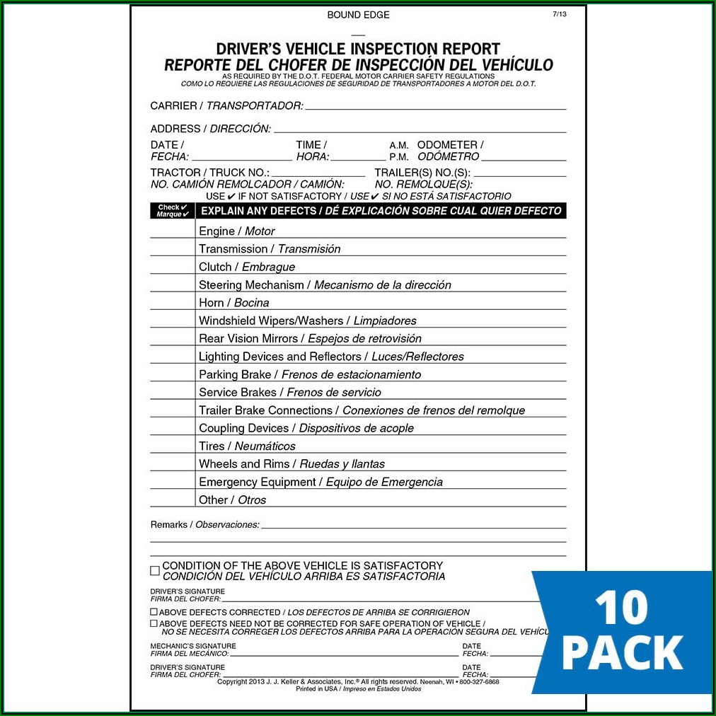 Jj Keller Truck Inspection Forms