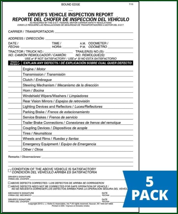 Jj Keller Vehicle Inspection Form