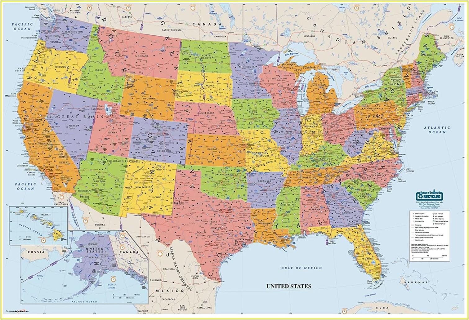 Laminated United States Map